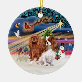 Xmas Magic - Cavaliers (two-Ruby-Blenheim) Christmas Ornament