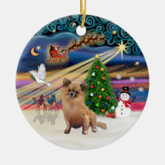 Xmas Magic - Chihuahua (long haired) Christmas Ornament