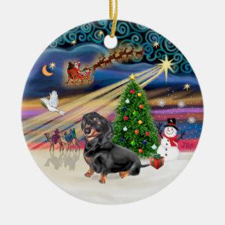 Xmas Magic - Dachshund (black-tan 4) Christmas Ornament