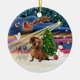 Xmas Magic - Dachshund (brown 2) Christmas Ornament