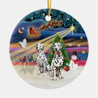 Xmas Magic - Dalmatians (two) Round Ceramic Decoration