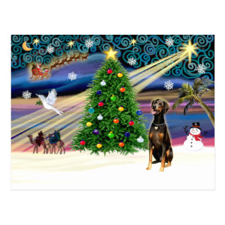 Xmas Magic-Doberman Blk-Natural Postcard