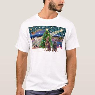 Xmas Magic-Doberman Pair T-Shirt