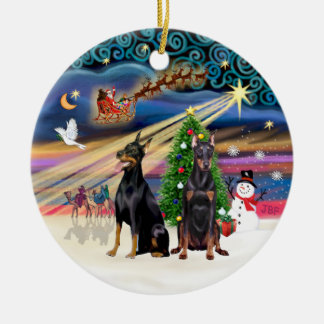 Xmas Magic - Dobermans (two) Christmas Ornament