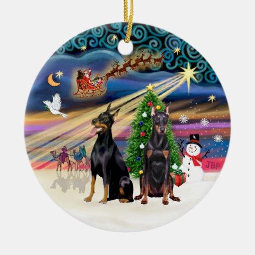Xmas Magic - Dobermans (two) Christmas Ornament