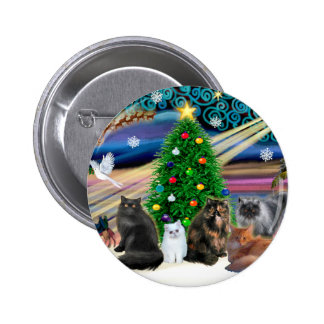 Xmas Magic - Five Persian Cats 6 Cm Round Badge