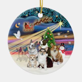 Xmas Magic - Five Welsh Corgis Christmas Ornament