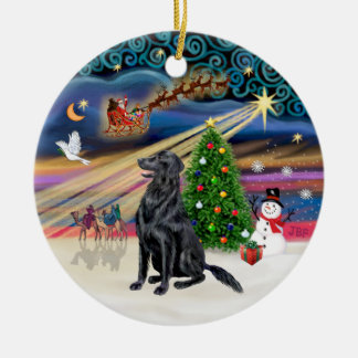Xmas Magic - Flat Coated Retriever Christmas Ornament