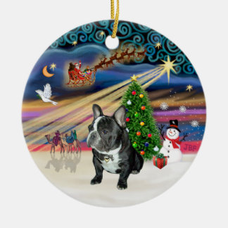 Xmas Magic - French Bulldog (black-white) Christmas Ornament