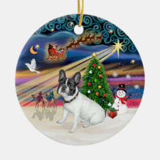 Xmas Magic - French Bulldog (white-black) Christmas Ornament