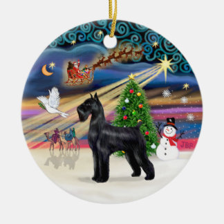 Xmas Magic - Giant Schnauzer (black) Round Ceramic Decoration