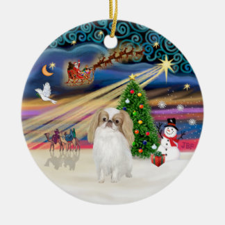 Xmas Magic - Japanese Chin (lemon-white) Christmas Ornament