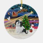 Xmas Magic - Lhasa Apso (black-white) Double-Sided Ceramic Round Christmas Ornament