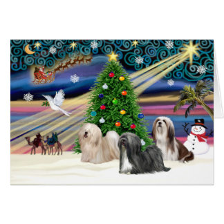 Xmas Magic-Lhasa Apso-Trio Card