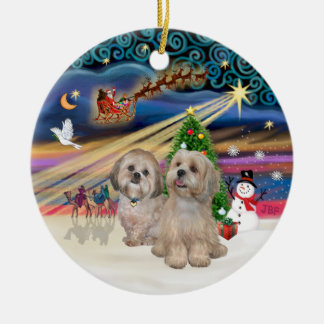 Xmas Magic - Lhasa Apsos (two-R-L) Christmas Ornament