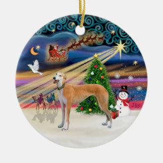 Xmas Magic - Light red Greyhound Round Ceramic Decoration