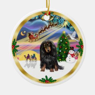Xmas Magic - Long Haired (BT) Dachshund Christmas Ornament