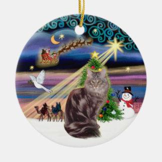 Xmas Magic - Maine Coon cat 10 Christmas Ornament