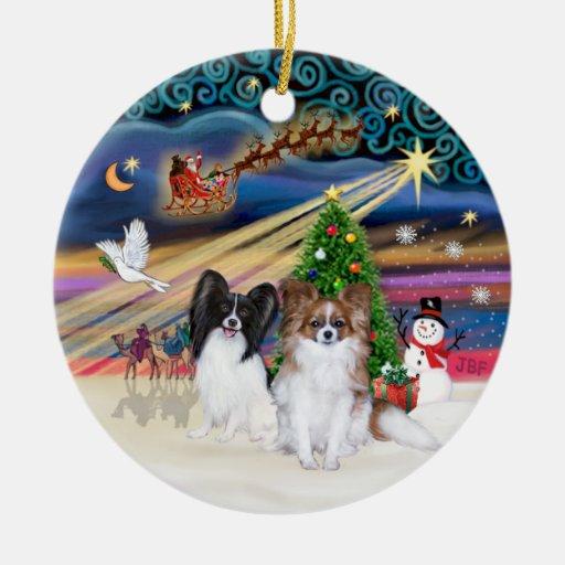 Xmas Magic - Papillons (two-BW+Sable) Christmas Tree Ornament
