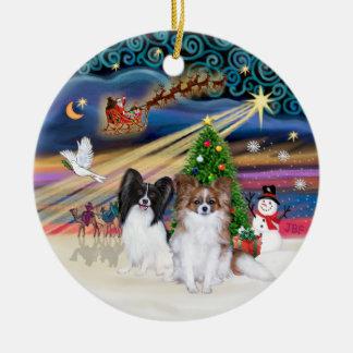 Xmas Magic - Papillons two-BW+Sable Christmas Tree Ornament