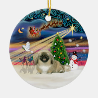 Xmas Magic - Pekingese (light sable) Round Ceramic Decoration