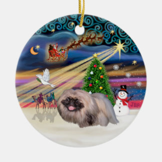 Xmas Magic - Pekingese (sable-black mask) Round Ceramic Decoration
