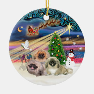 Xmas Magic - Pekingese (Three) Round Ceramic Decoration