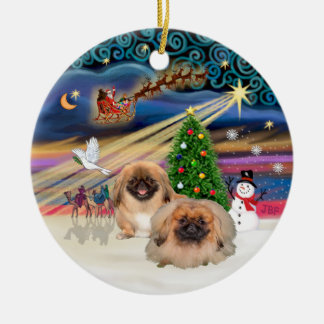 Xmas Magic - Pekingese (two red) Round Ceramic Decoration