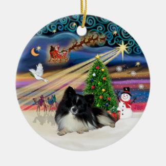 Xmas Magic - Pomeranian (black-white) Christmas Ornament