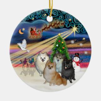 Xmas Magic - Pomeranians (FOUR), Xmas Music - P... Christmas Ornament