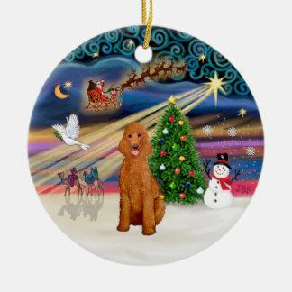 Xmas Magic - Poodle (Standard apricot) Christmas Ornament