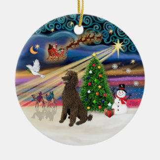 Xmas Magic - Poodle (Standard Chocolate) Christmas Ornament