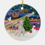 Xmas Magic - Poodle (Standard white, ribbons) Christmas Ornaments