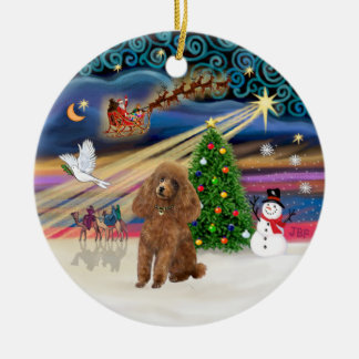 Xmas Magic - Poodle Toy apricot Christmas Ornament