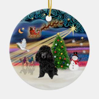 Xmas Magic - Poodle (toy black) Christmas Ornament