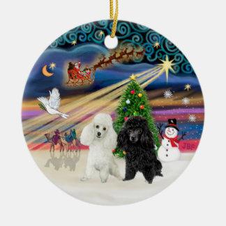 Xmas Magic - Poodles (TWO toy-BW) Round Ceramic Decoration