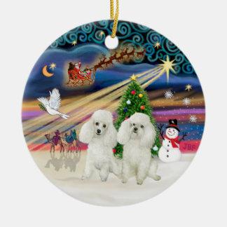 Xmas Magic - Poodles (TWO Toy white) Christmas Ornament