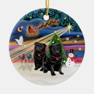 Xmas Magic - Pugs (TWO black) Christmas Ornament