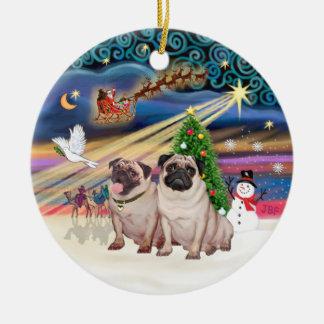 Xmas Magic - Pugs (Two fawn 2) Christmas Ornament