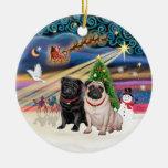 Xmas Magic - Pugs (TWO-fawn+black) Christmas Tree Ornaments