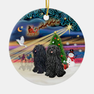 Xmas Magic - Puli (TWO) Round Ceramic Decoration
