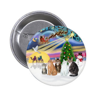 Xmas Magic (R) - Five cats (AmSH) 6 Cm Round Badge