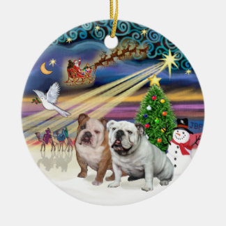Xmas Magic (R) - Two English Bulldogs Ornaments