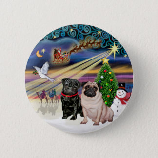 Xmas Magic (R) - Two Pugs (F + B) 6 Cm Round Badge