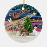 Xmas Magic - Red Siberian Husky Christmas Tree Ornament