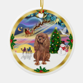 Xmas Magic - Ruby Cavalier Round Ceramic Decoration