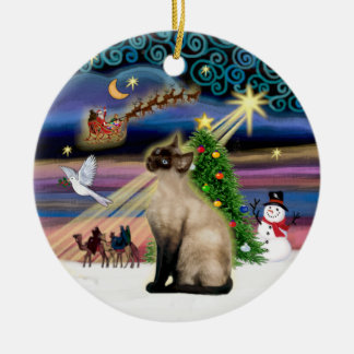 Xmas Magic - Seal Point Siamese Christmas Ornament