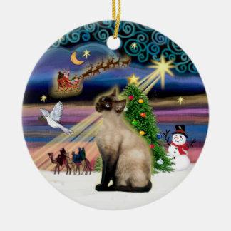 Xmas Magic - Seal Point Siamese Round Ceramic Decoration
