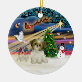 Xmas Magic - Shih Tzu Puppy (brown-white) Christmas Ornament
