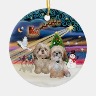 Xmas Magic - Shih Tzu (TWO - P+Y) Ornaments